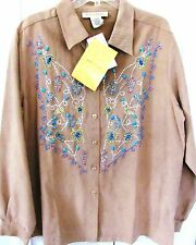 CYNTHIA BRADLEY X Large-Button Up Blouse-Embellished Suede Feel-Long Sleeve NWT