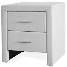 CORIUM® Nachttisch mit 2 Schubladen Weiß Kunst-Leder Nachtkommode Beistelltisch
