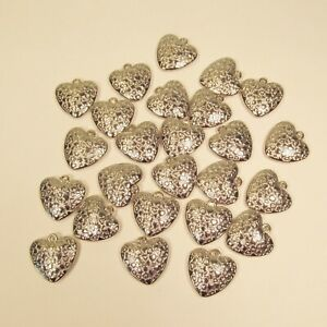 25 PC Embossed Puffy Heart Shiny Silver Color Charms Pendants Wholesale Bulk Lot