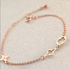 New Stainless Steel 14K Rose Gold Hollow Four-leaf Clover Charms Chain Bracelet