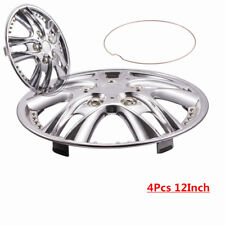 12'' 4Pcs/Set For One Car 4 Wheel Tire Hubcaps Chorme Silver Wheel Cover Rims
