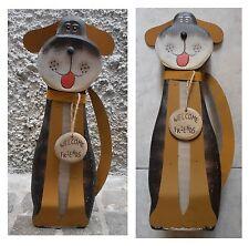 """Fermaporta cane grigio scuro in legno, altezza cm 35, """"Welcome Friends"""""""