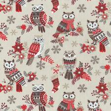 Textiles français The Festive Owls fabric (Beige/Red)