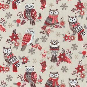 Textiles français The Festive Owls fabric (Beige/Red)