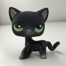 Littlest Pet Shop Black Short Hair Siamese Cat LPS #994 Pink Ear Kitty Green Eye