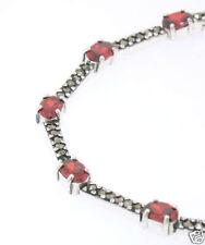 Marcasite Sterling Silver Elegant Narrow Oval Garnet Ladies Line Bracelet