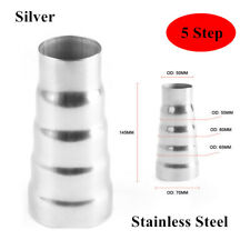 145MM Car Stainless Steel Exhaust 5 Step Reducer Adapter Connector Pipe Cone Kit