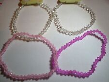Pack 4 Pink Acrylic & Clear Glass Bead Bracelets