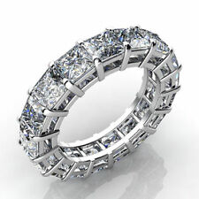 CERTIFIED 5.00CT PRINCESS CUT DIAMOND FULL ETERNITY RING 14K WHITE GOLD BAND