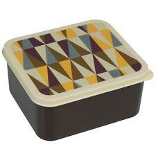 dotcomgiftshop PLASTIC LUNCH BOX WITH PUSH ON LID METRO GEOMETRIC DESIGN