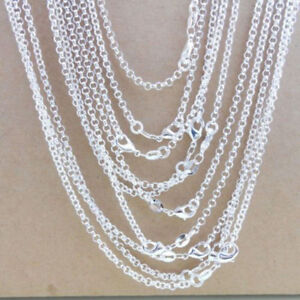 """10pcs/lot 1mm 925 Silver Plated Rolo Chain Necklaces 16-24"""" Wholesale Chains"""