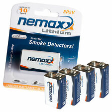 4x NEMAXX 9V Block POWER PLUS 1200 mAh Lithium Batterie - 10 Jahre Lebensdauer