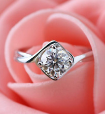 Engagement Ring 14k White Gold Over 2.ct Round Cut Moissanite Solitaire Wedding