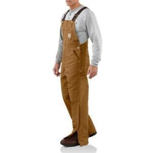 NEW!!  Carhartt Men's Duck Bib Overall -Quilt-Lined - R02 BROWN