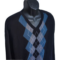 CLAIBORNE Mens 2XL Long Sleeve V-Neck Cotton Sweater Black Blue Gray VNeck XXL