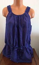 Calvin Klein Womens Sleeveless Blouse Tank Tie Waist Slate Blue Size Large