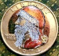Hobo Nickel Coin Washington quarter as Saint Nick engraved by J&M Tarantula