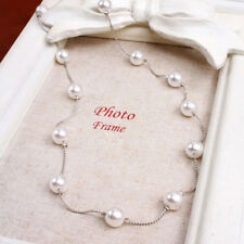 Charm Pearl Choker Chunky Statement Bib Pendant Chain Necklace Wedding Jewelry