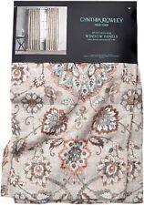 Cynthia Rowley Floral Medallion 2pc Window Curtain Panels Drapery Linen Bland