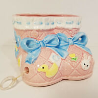 Vintage Ceramic Baby Booties Planter CMC Japan Wind Up Pull String Sayings Pink