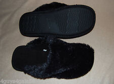 WOMENS SLIPPERS Black Fuzzy OPEN BACK Scuffs Rubber Soles S 5-6