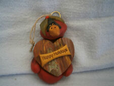 Unique Handmade FIMO Polymer Clay NO MOLDS USED Happy Holidays Cardinal Ornament