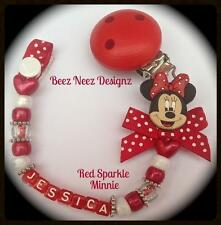 ❤ PERSONALISED  Your Name Choice ❤ Red POLKA Sparkle MINNIE ❤ Dummy Clip ❤