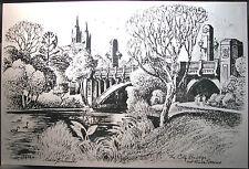 Australian Artist Cedric Emanuel aluminium etching,  City Bridge & River Torrens