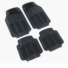 4PC Heavy Duty Universal Black RUBBER Car Mat Set Non Slip & Smell SUV Van Mats