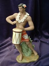 Gill Porcelain Retro Hawaiian Hula Statue Boy with Drum Red Boy