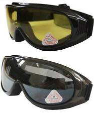 2 prs Andevan™ Ski/ Motors Goggle cover/wear over Rx glasses-smoke & yellow lens
