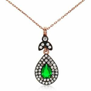 Turkish Emerald Color Green Zircon Art Deco Necklace Sterling Silver Rose Gold