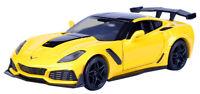 Motor Max 2019 Corvette ZR1 gelb 1: 24 m/o Wunschkennzeichen