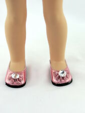 """Pink Rhinestone Bow Dress Shoes Fits Wellie Wishers 14.5"""" American Girl Clothes"""