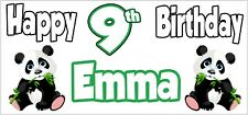 Panda Themed Personalised Birthday Banner x 2 - Party - Decorations - NAME & AGE