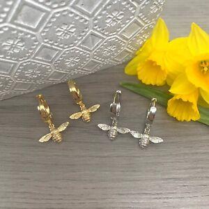 Bumble Bee Gold Plated/ Platinum Plated Huggie Hoop Earrings