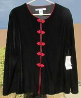 NWT August Silk Womens Plus sz 1X Dressy Black Velvet Top New $29.99 * Red Clasp