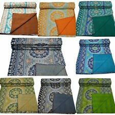 Kantha Quilt Handmade Cotton Vintage Bedspread Blanket Bedding Throw Queen Size