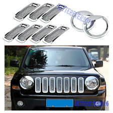 Chrome Front Grill Mesh Trim+Angry Bird Headlight Cover for Jeep Patriot 2011-17