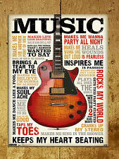 vintage retro style Music inspires me poster image metal sign wall door plaque