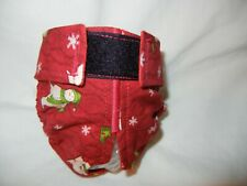 Female Dog Puppy Pet Diaper Washable Pants Sanitary Underwear SNOWMEN RED SMALL
