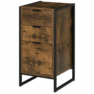 Industrial Style Drawers Elevated Wooden Storage Chest Cabinet Organiser Brown