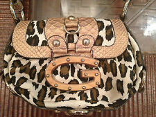 Guess bag purse animal print beige, tan, brown nude w golden chain handle