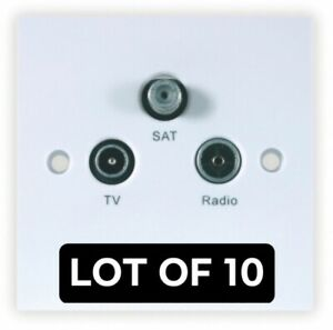 Triax 304102 LOT of 10 TV/Radio/SAT Triplex Outlet Plate White Sky/TV/FMDAB
