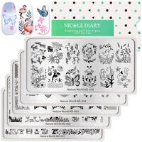 NICOLE DIARY Rectangle Nail Stamping Plates Nature World Series Nail Art Image