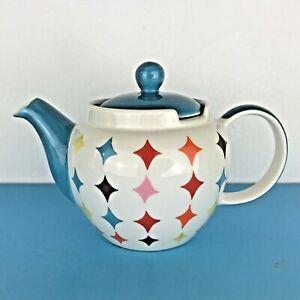 Whittard of Chelsea white / blue diamond pattern 1 pint teapot Hght 12 cm ex con