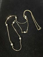 Vintage Gold Tone Faux Pearl Station Chain Necklace 10547