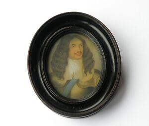 ANTIQUE GEORGIAN STYLE MINIATURE PORTRAIT. PETER THE GREAT. EBONISED WOOD FRAME