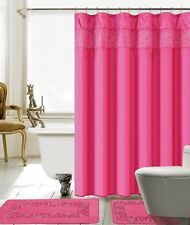 15 Piece Lilian Embroidery Banded Shower Curtain Bath Set (Hot Pink  )