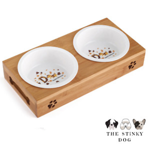 Dog Bowl Raised Double Wooden Stand Cat Pet Feeding Station Ceramic Non-Slip